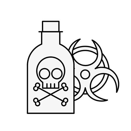 poison bottle hazard danger radiation sign vector illustration thin line Illustration