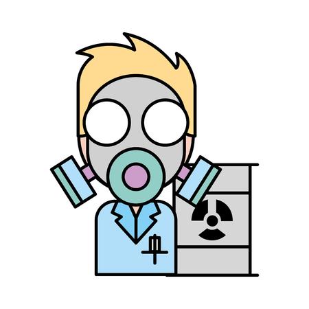 doctor mask protection hazard radiation barrel vector illustration Иллюстрация