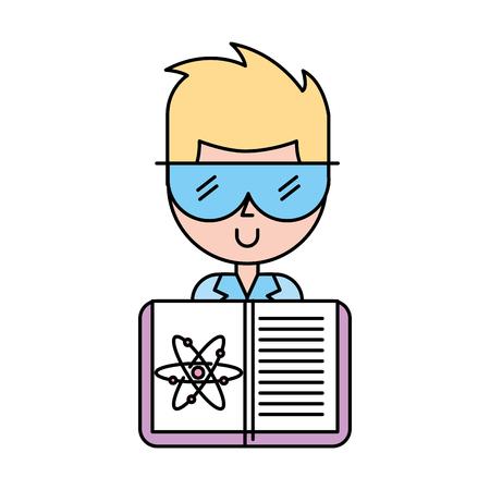 scientific man professor book science chemistry atom vector illustration