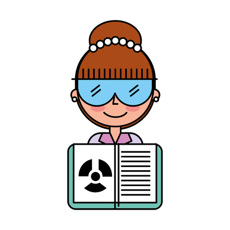 science scientist woman with glasses and radiation hazard book vector illustration Illustration