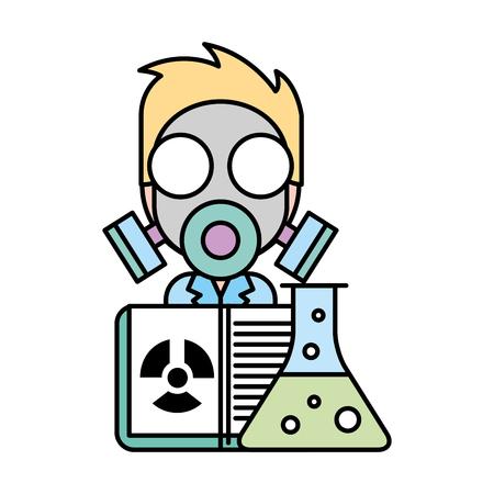 scientific man professor with mask radiation test tube vector illustration