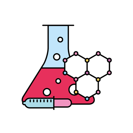 laboratory test tube sample dropper molecule structure vector illustration