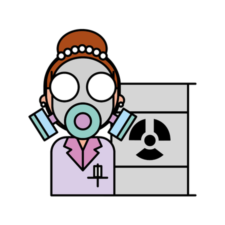 scientific woman with protection mask radiation barrel hazard vector illustration
