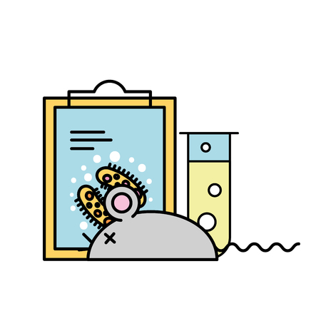 laboratory rat clipboard analysis experiment test tube vector illustration