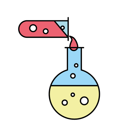 biology test tube pouring flask chemistry equipment vector illustration