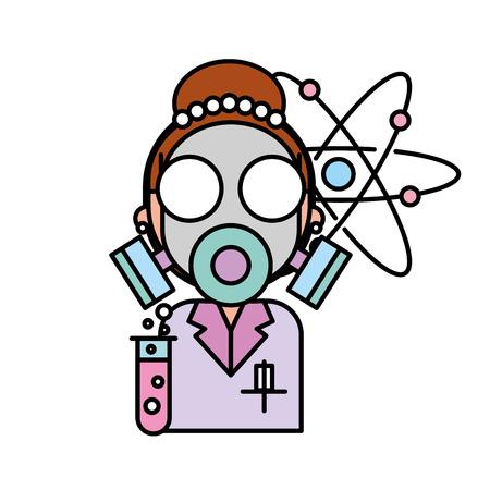 Mujer científica con máscara de protección molécula de laboratorio de química ilustración vectorial
