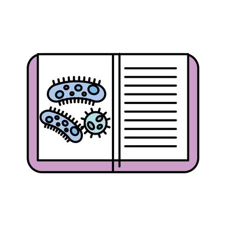 chemistry laboratory book virus bacteria study vector illustration Foto de archivo - 110032164
