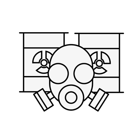respirator protective mask and hazard barrels vector illustration thin line