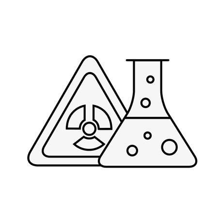 radiation hazard test tube chemistry vector illustration thin line Ilustração