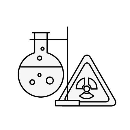 chemistry hazard sign test tube laboratory vector illustration thin line Banque d'images - 110032171