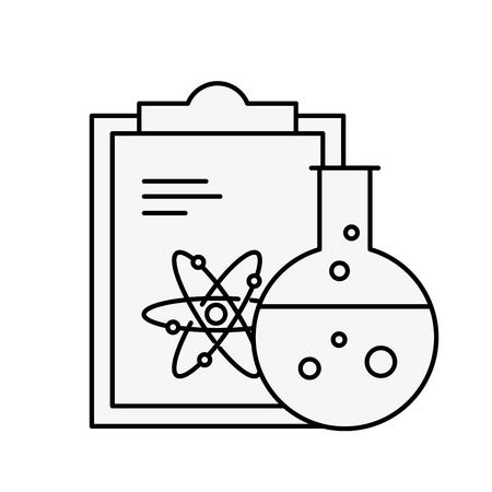 chemistry laboratory science clipboard atom test tube vector illustration thin line Ilustração