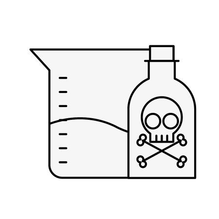 poison bottle test tube sample science vector illustration thin line Stock Illustratie