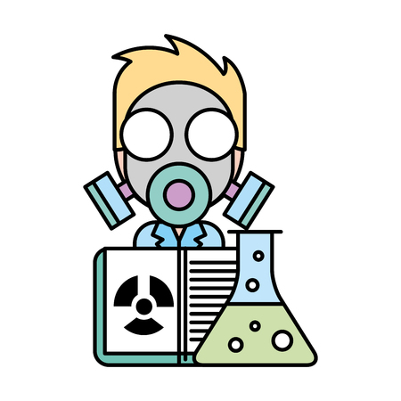 scientific man professor with mask radiation test tube vector illustration