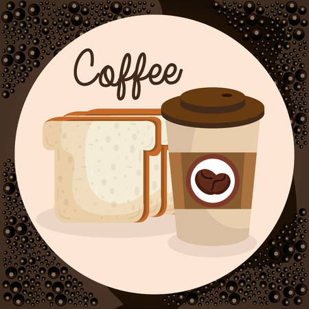 delicious coffee in cup plastic and bread toast vector illustration design 向量圖像