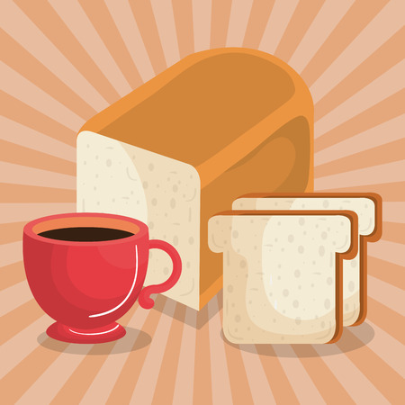 delicious coffee cup with bread vector illustration design