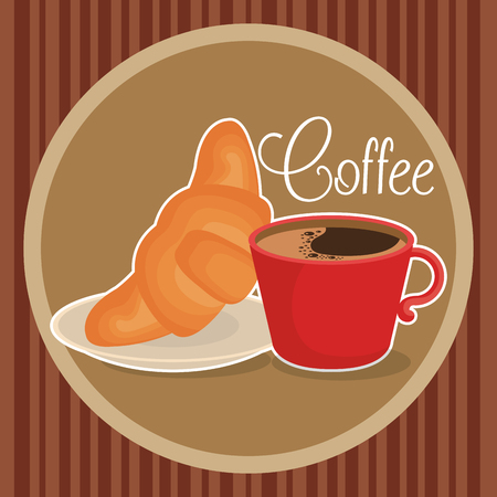 delicious coffee cup with croissant vector illustration design