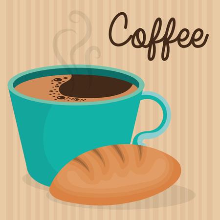 delicious coffee cup with bread vector illustration design