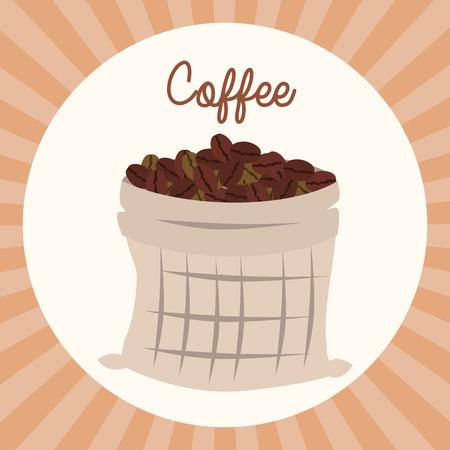 delicious coffee grains in sack vector illustration design