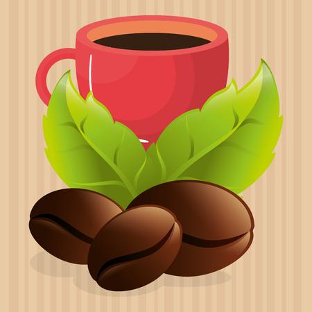 delicious coffee cup with grains vector illustration design