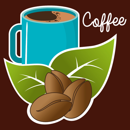 delicious coffee cup with grains vector illustration design