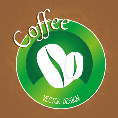 delicious coffee grains emblem vector illustration design