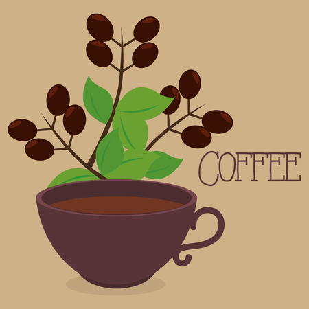 delicious coffee cup with plant vector illustration design