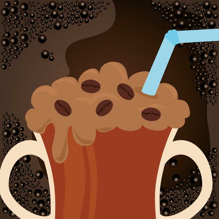 delicious iced coffee in cup vector illustration design
