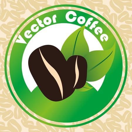 delicious coffee grains emblem vector illustration design