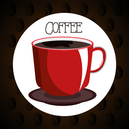 delicious coffee in cup seal vector illustration design