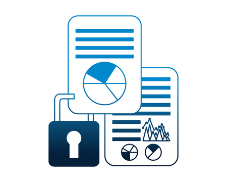 business document reports security data vector illustration neon Иллюстрация
