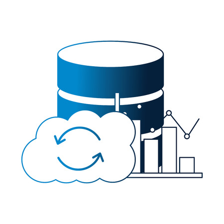 cloud computing database center statistics chart vector illustration neon Иллюстрация