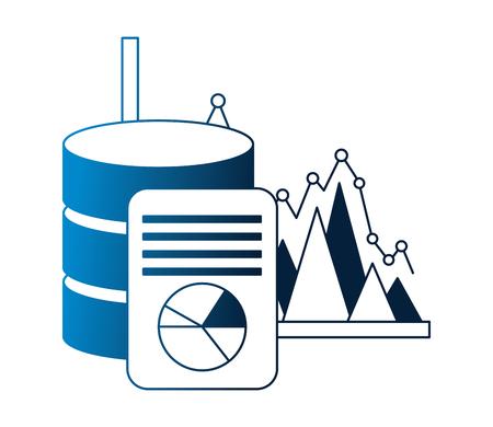 business database server document statistic vector illustration neon