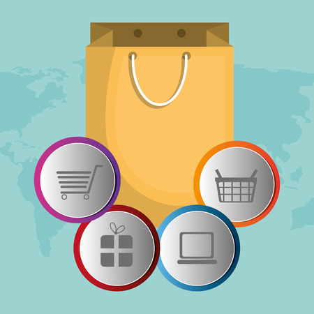 buy on line with shopping bag vector illustration design 向量圖像