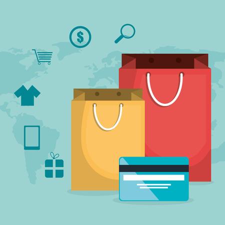 buy on line with shopping bag vector illustration design Illustration