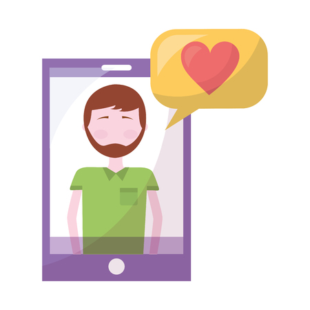 man in smartphone with heart and speech bubble vector illustration design