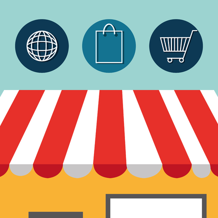 buy on line with store building vector illustration design