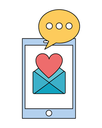 smartphone with envelope mail and set icons vector illustration design Illustration