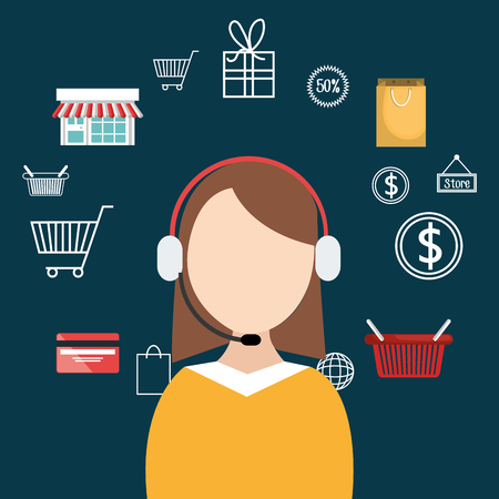 buy on line with saleswoman agent vector illustration design Illustration
