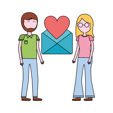 couple with envelope mail and heart isolated icon vector illustration design Banque d'images - 109988628
