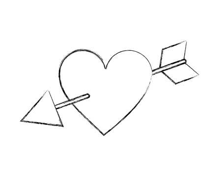 romantic love heart pierced by arrow passion vector illustration hand drawing Illustration