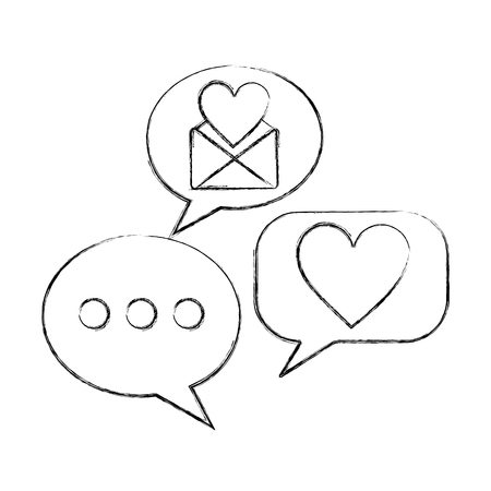 love heart speech bubble envelope message vector illustration hand drawing Illustration