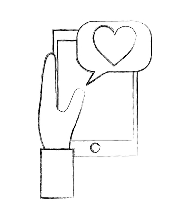 hand holding smartphone message love communication vector illustration hand drawing Banque d'images - 109988654