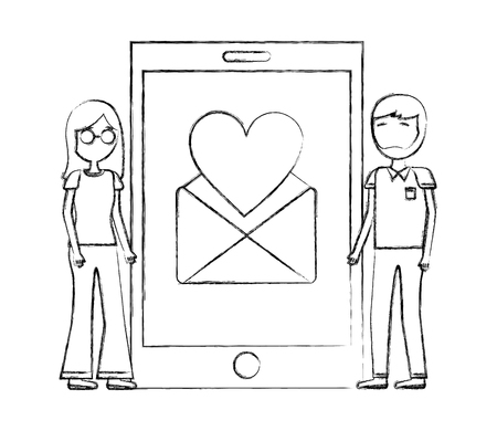 man and woman mobile love envelope letter vector illustration hand drawing