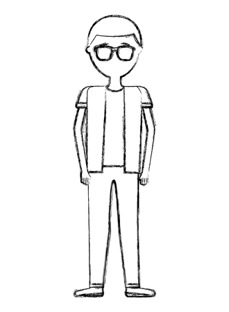man male standing character cartoon vector illustration hand drawing