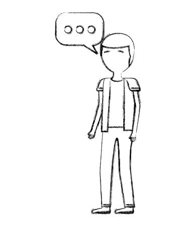 man standing speech bubble conversation vector illustration hand drawing