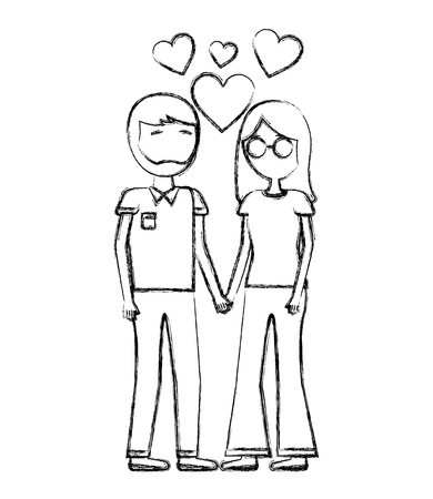 man and woman holding hands romantic love hearts vector illustration hand drawing Illustration