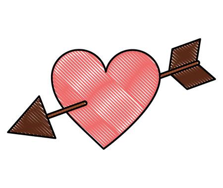 romantic love heart pierced by arrow passion vector illustration