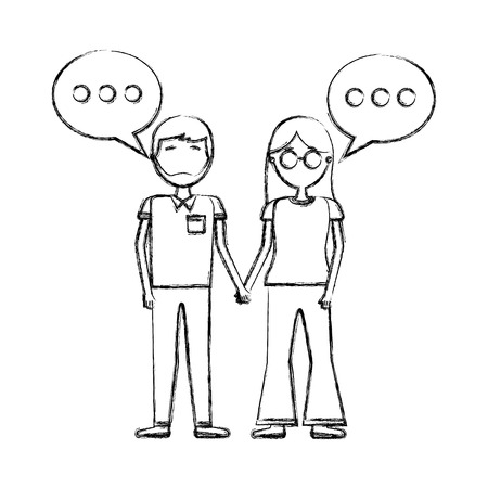 woman and man holding hands romantic vector illustration hand drawing