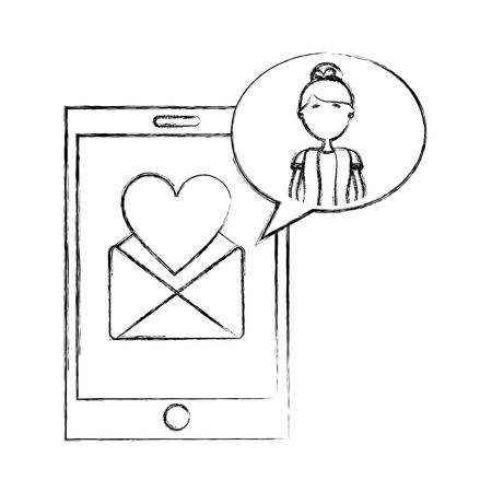 smartphone message love woman dialogue vector illustration hand drawing