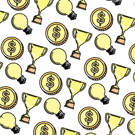trophy cup with coins and bulbs pattern vector illustration design